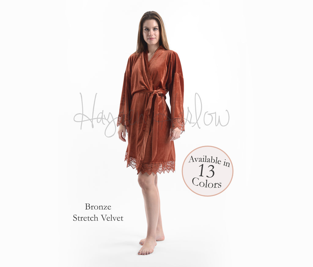Bronze Stretch Velvet & Lace robe - Hayden Harlow