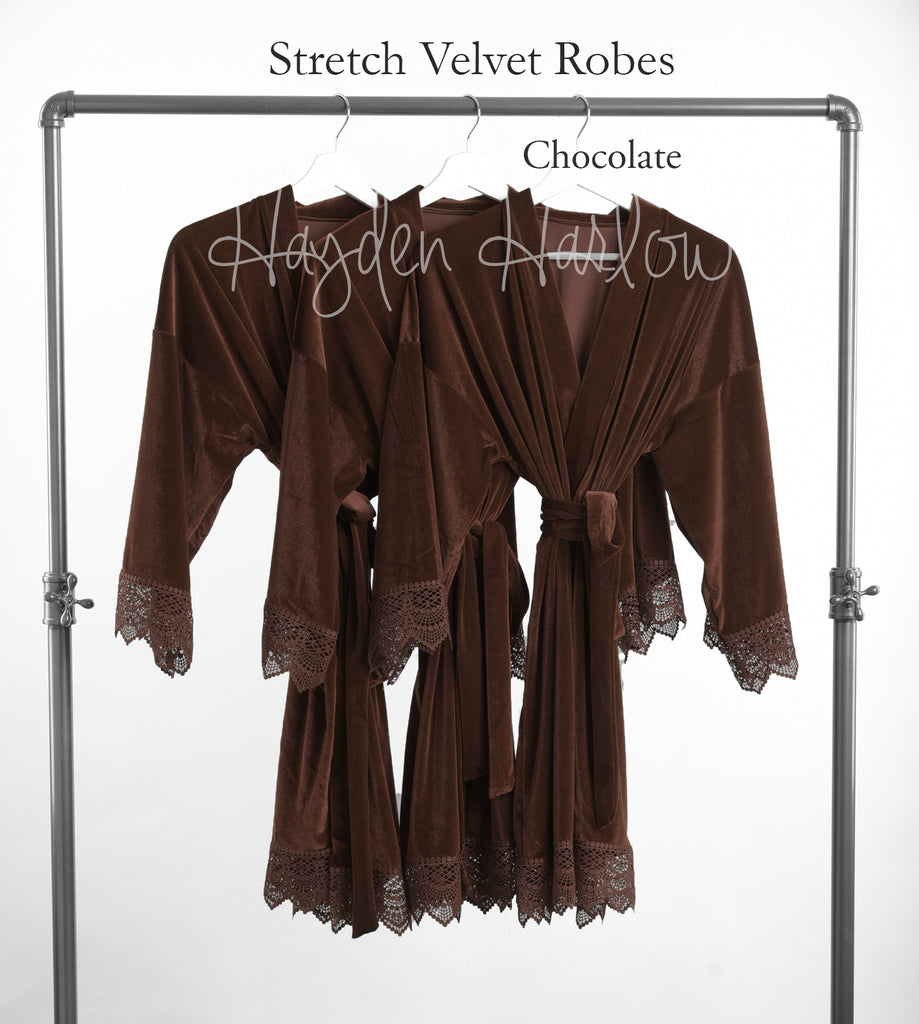 Chocolate Brown Stretch Velvet & Lace robe - Hayden Harlow