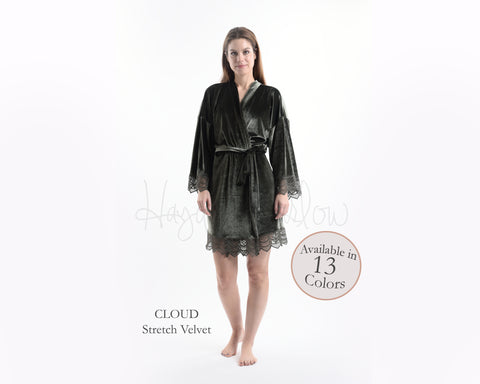 Cloud Grey Stretch Velvet & Lace robe - Hayden Harlow
