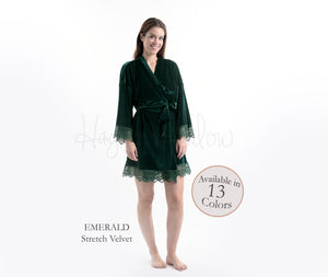 Emerald Green Stretch Velvet & Lace robe - Hayden Harlow