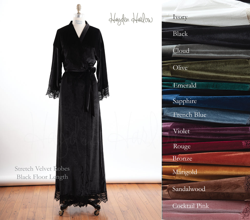 FLOOR length Stretch Velvet & Lace robe - Hayden Harlow