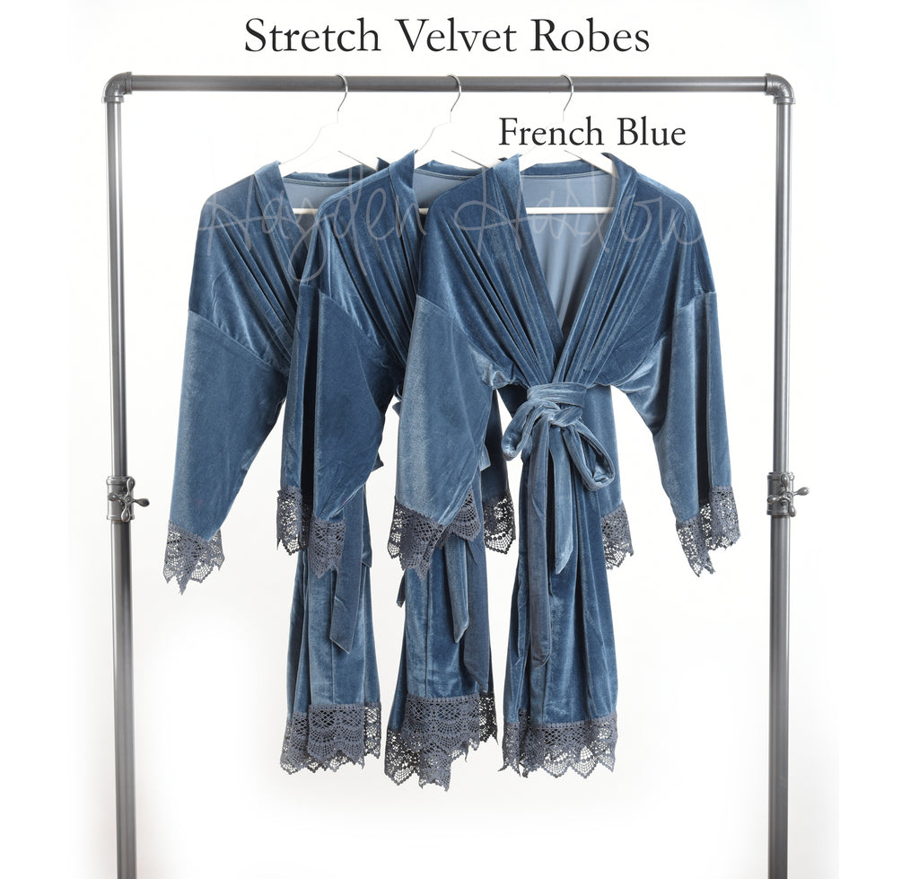 French Blue Stretch Velvet & Lace robe - Hayden Harlow