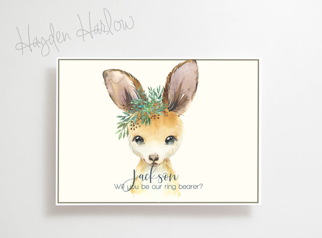 "Note Card - 5""x7"" - KANGAROO boy - gender neutral - Hayden Harlow"