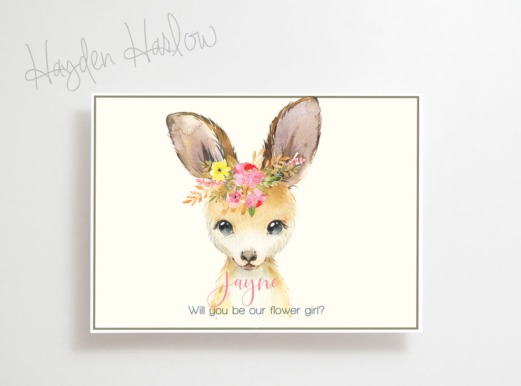"Note Card - 5""x7"" - KANGAROO girl - Hayden Harlow"