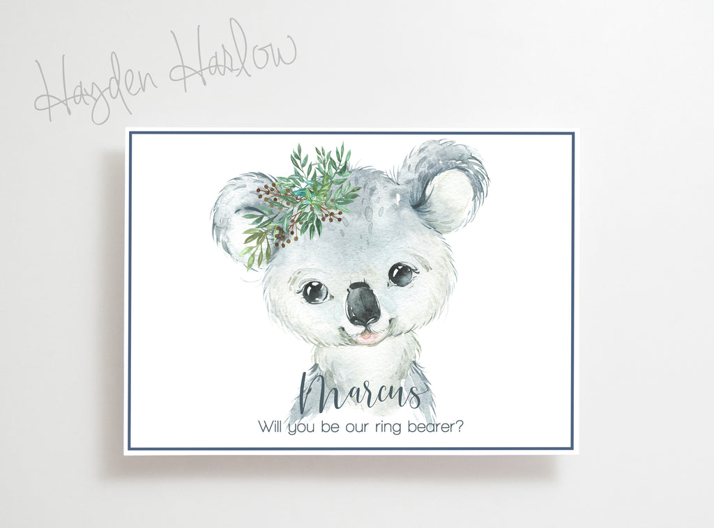 "Note Card - 5""x7"" - KOALA boy - gender neutral - Hayden Harlow"