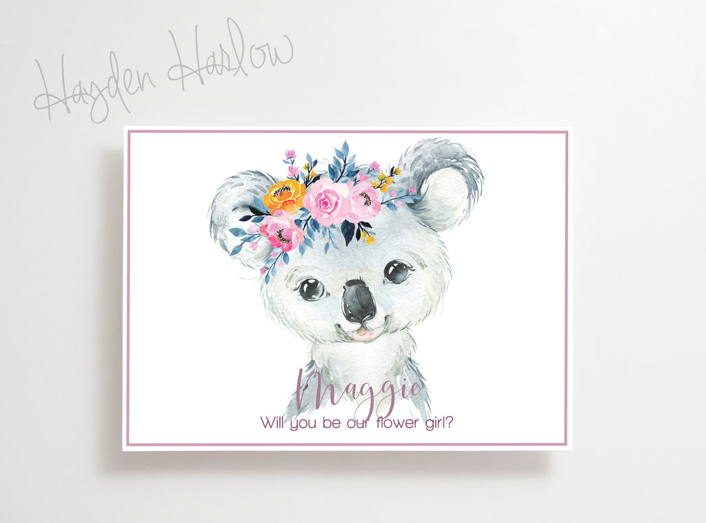"Note Card - 5""x7"" - KOALA girl - Hayden Harlow"