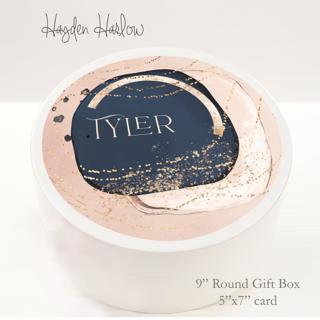 "9.5"" Round Gift Box - Customized  - PALM SPRINGS - Hayden Harlow"