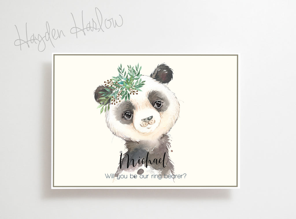 "Note Card - 5""x7"" - PANDA boy - gender neutral - Hayden Harlow"