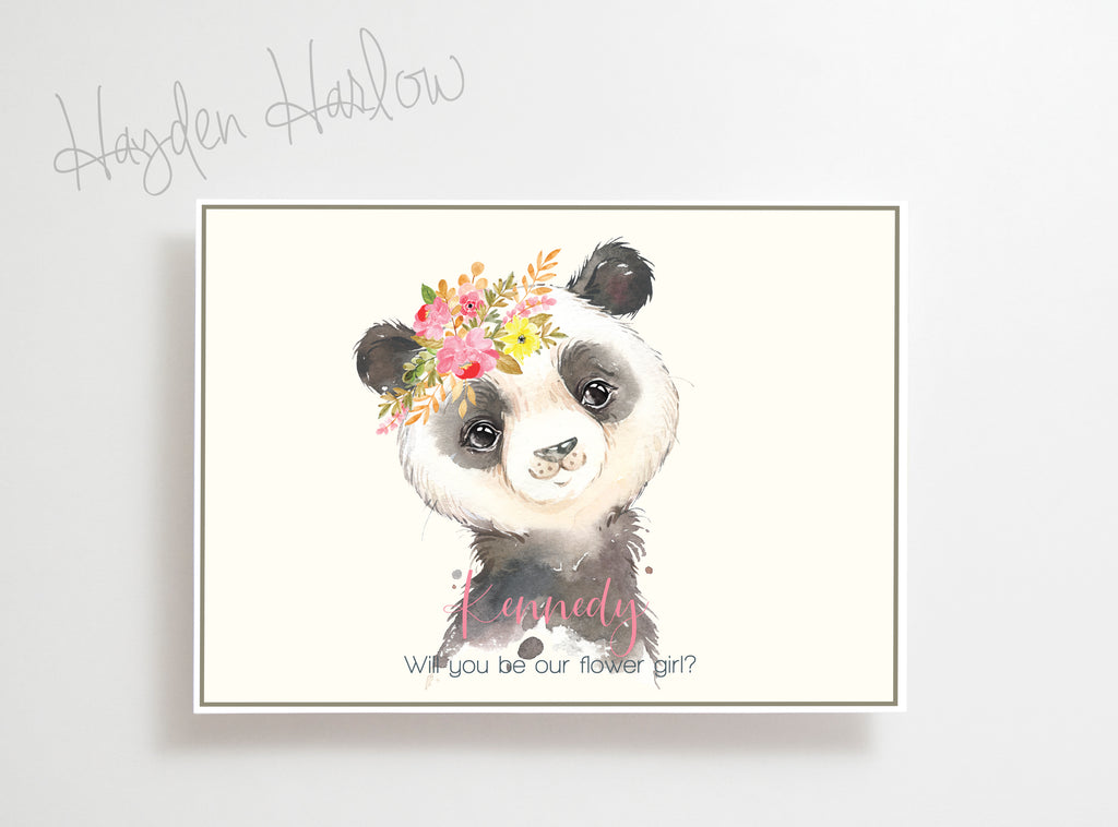 "Note Card - 5""x7"" - PANDA girl - Hayden Harlow"
