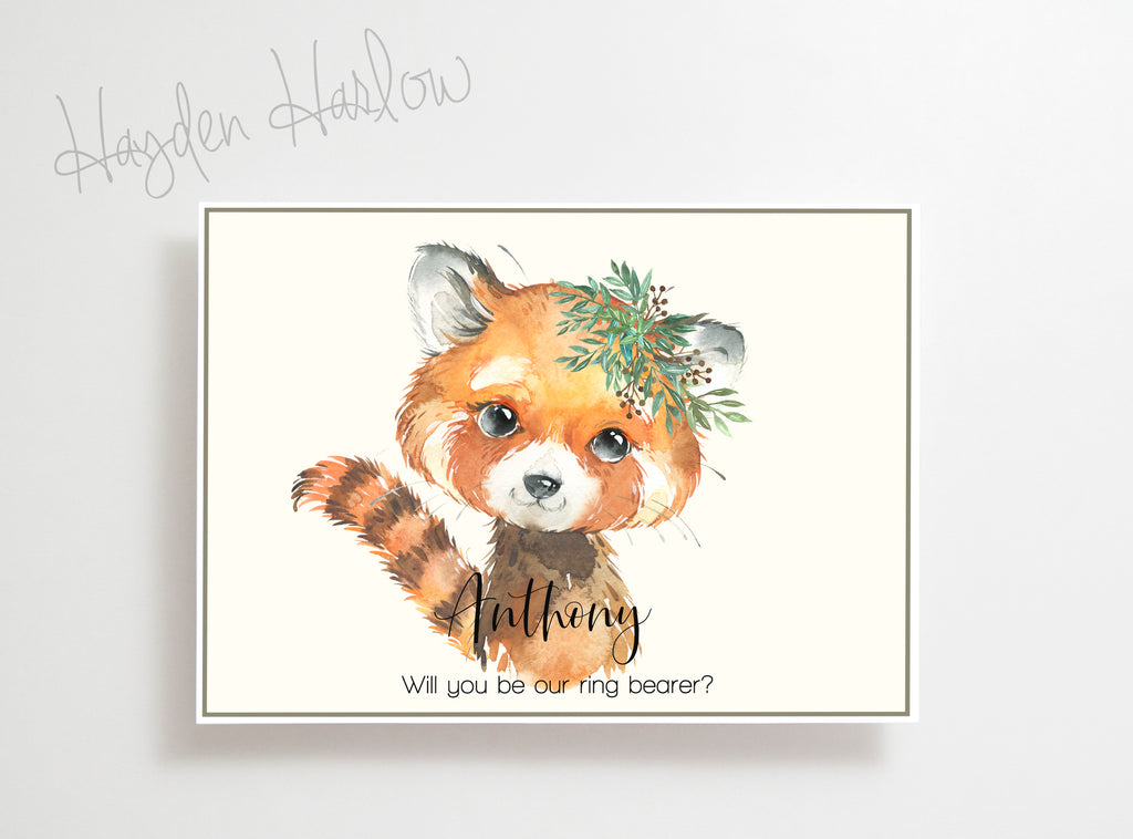 "Note Card - 5""x7"" - RED PANDA boy - gender neutral - Hayden Harlow"