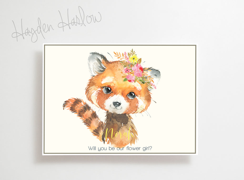 "Note Card - 5""x7"" - RED PANDA -girl - Hayden Harlow"