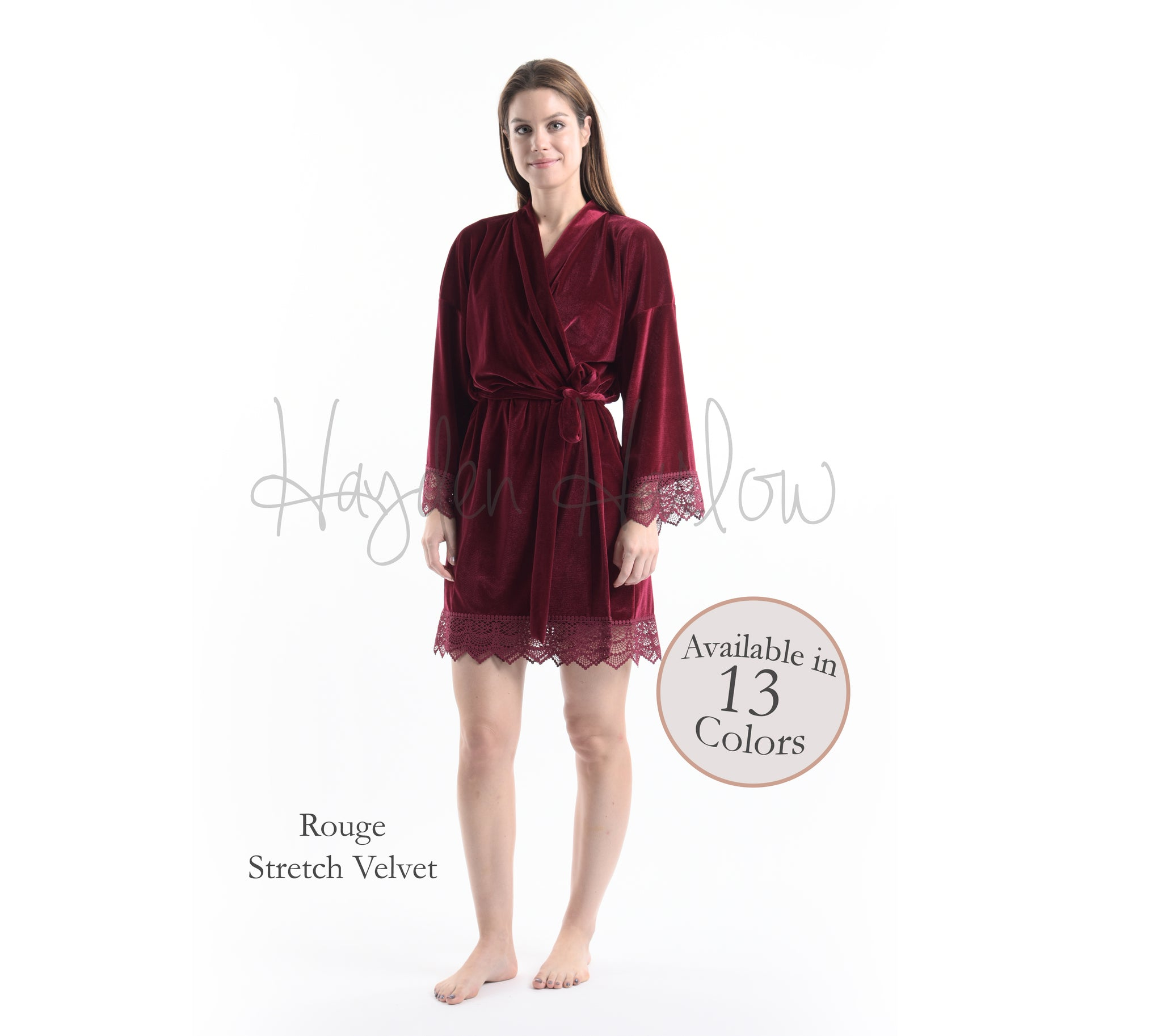 Rouge Red Stretch Velvet & Lace robe - Hayden Harlow