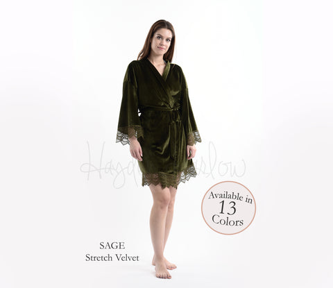 Sage Green Stretch Velvet & Lace robe - Hayden Harlow