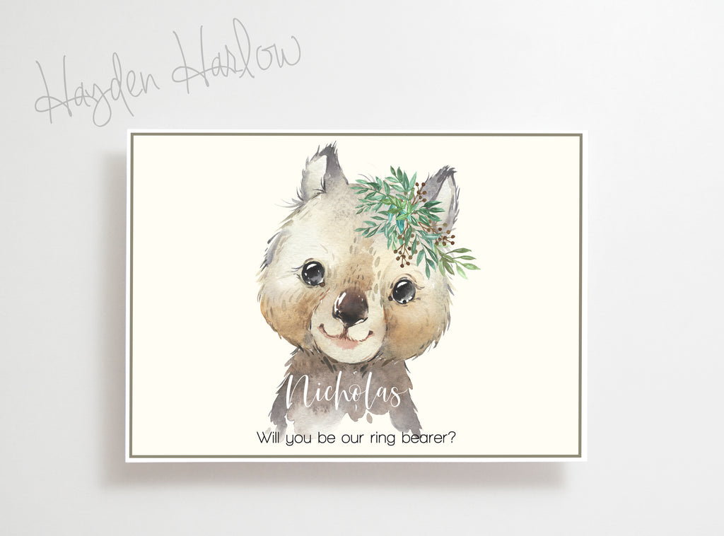 "Note Card - 5""x7"" - WOMBAT boy - gender neutral - Hayden Harlow"