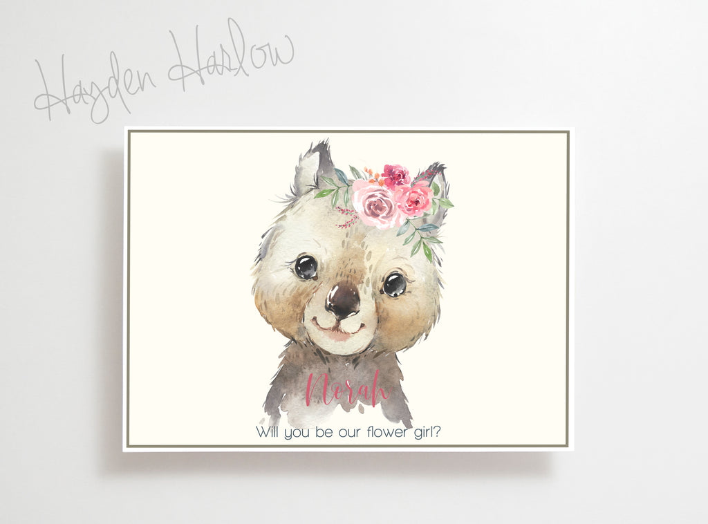 "Note Card - 5""x7"" - WOMBAT girl - Hayden Harlow"