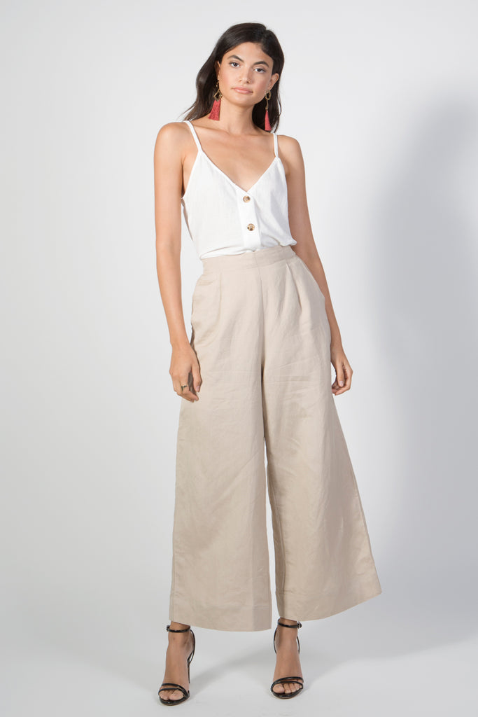 Wide Leg Pleated Linen Pants - Rare Lilie