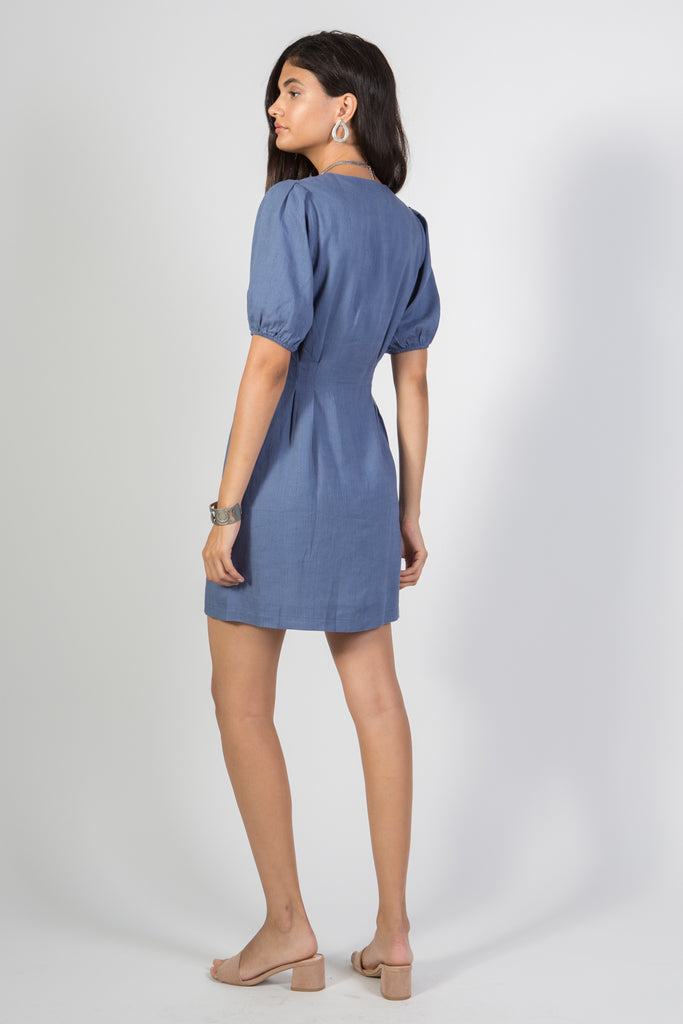 Denim Blue Puff Sleeve Dress - Rare Lilie
