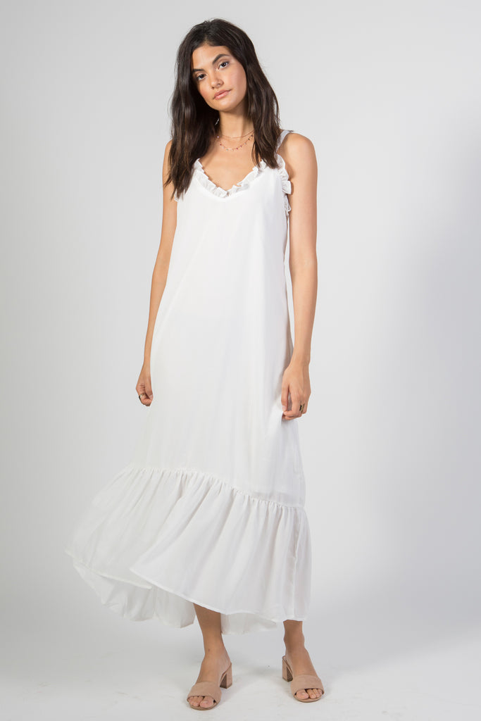 Spaghetti Strap Ruffled Edge Maxi Dress - Rare Lilie