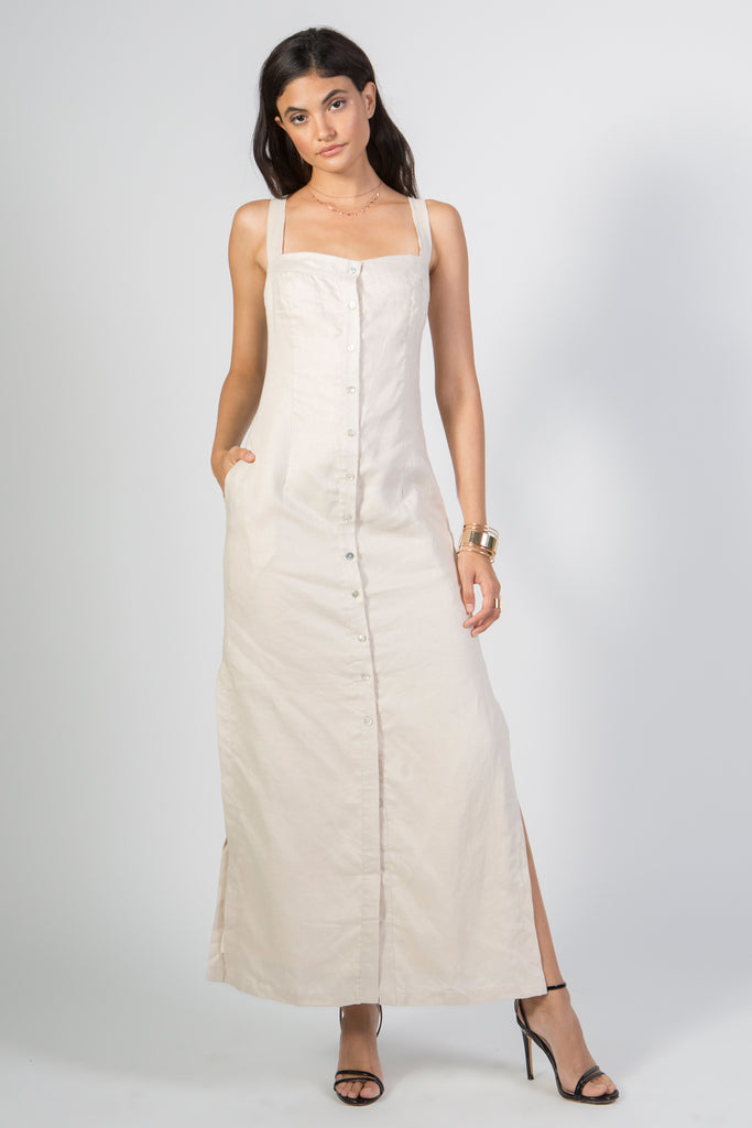 Linen Button Down Maxi Dress - Rare Lilie