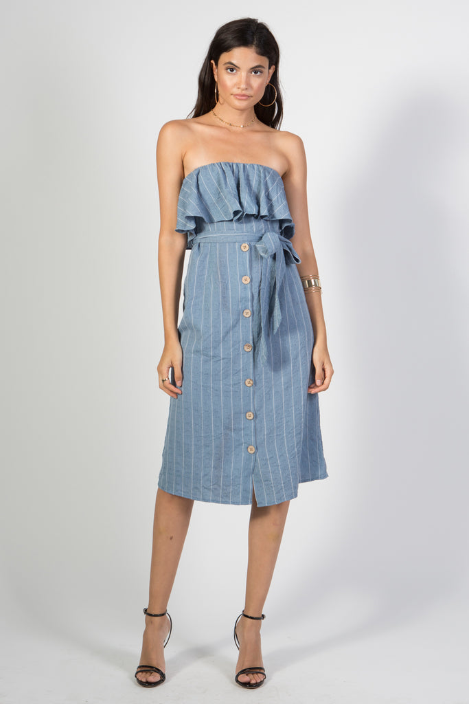 Sleeveless Button Down Denim Dress - Rare Lilie