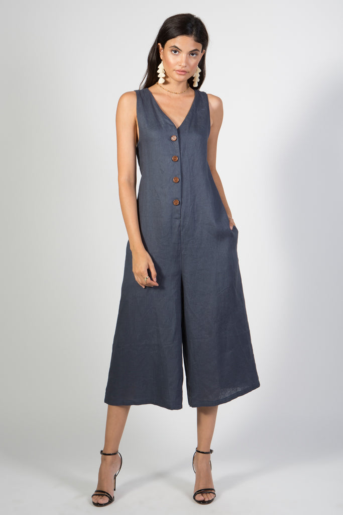 Linen Button Down Culottes Jumpsuit - Rare Lilie