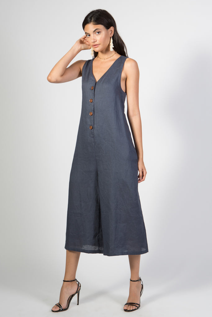 Linen Jumpsuit- Button Down Culotte - Rare Lilie