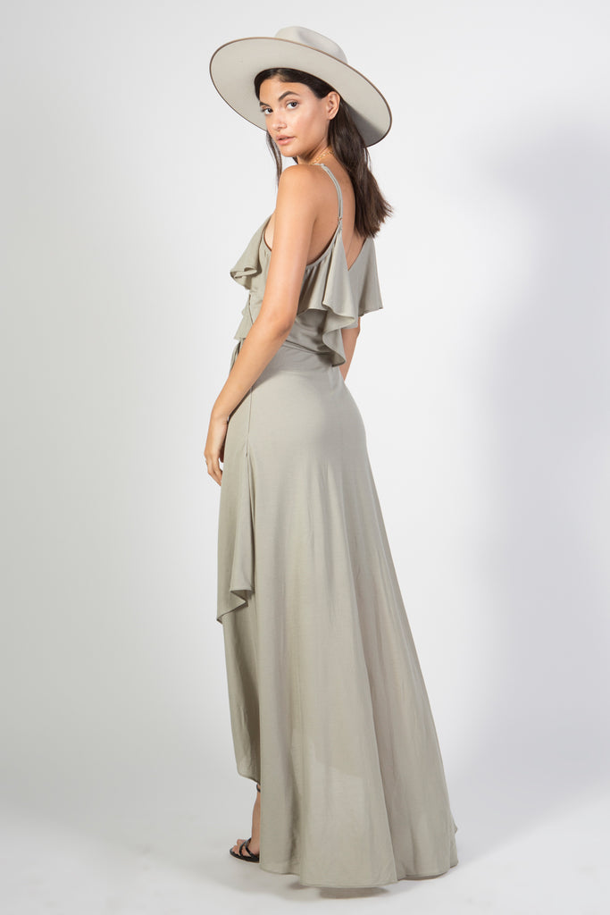 Woven Maxi Dress with Plunging Neckline - Rare Lilie
