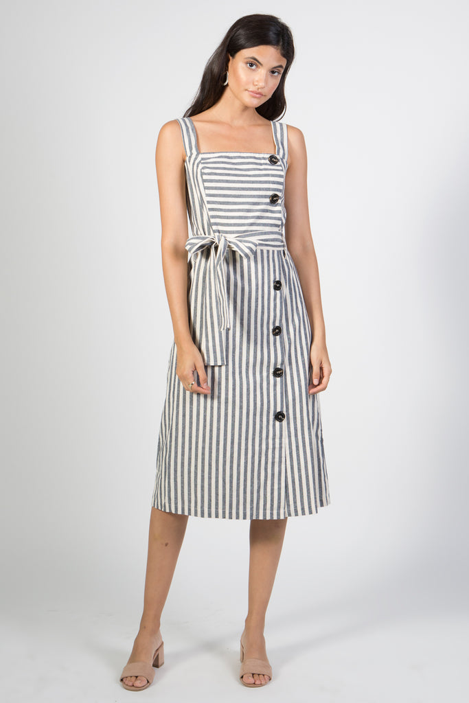 Sleeveless Striped Cotton Dress with Belt - Rare Lilie