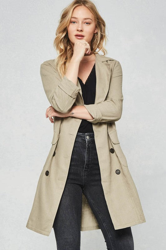 Solid Woven Trench Coat - Rare Lilie