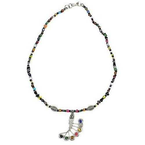 Single Strand Beaded 'Peacock Feather' Multicolor Necklace Handmade and Fair Trade