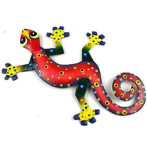 Eight Inch Red Confetti Metal Gecko