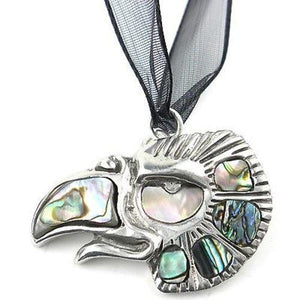 Aztec Cuahtli Eagle Pendant on Organza Handmade and Fair Trade