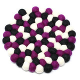 Hand Crafted Felt Ball Trivets from Nepal: Round - Multiple Designs