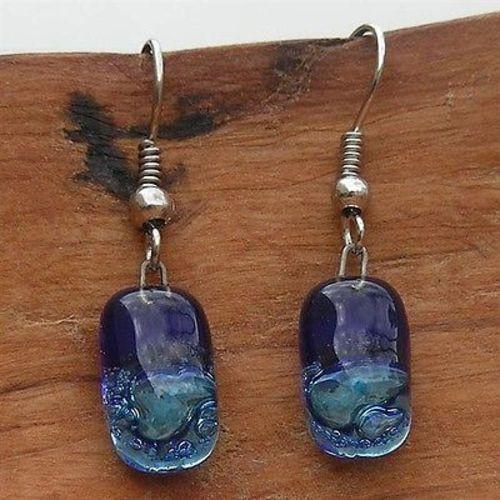 Small Rectangular Glass Earrings - Blue Bubbles Handmade and Fair Trade