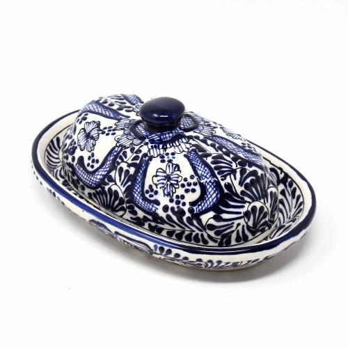 Handmade Pottery Butter Dish, Blue Flower