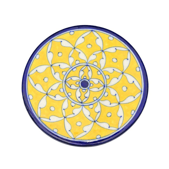 Blue Pottery Trivet - Yellow