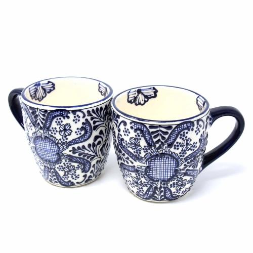 Rounded Mugs - Blue Flowers Pattern, Set of Two