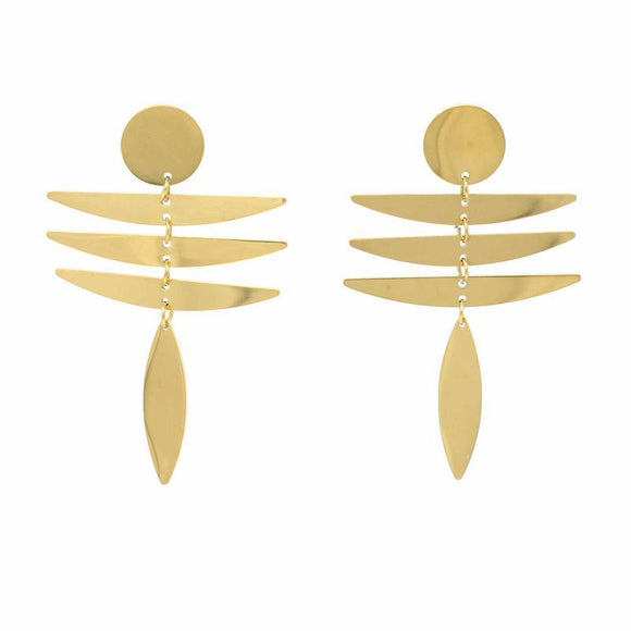 Earrings: 18k Gold Plated Stainless Steel Fringe Dangle