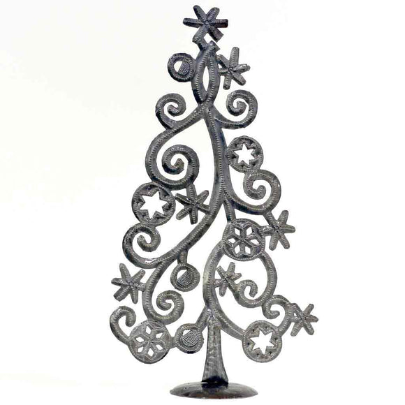 Tabletop Christmas Tree with Stars and Snowflakes, Metal Art (14