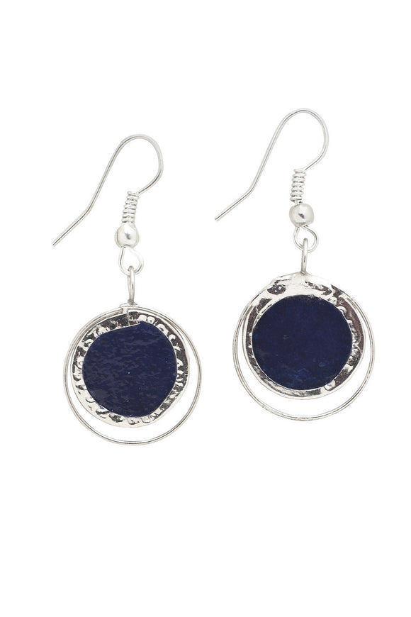 Cobalt Treasure Capiz Earrings