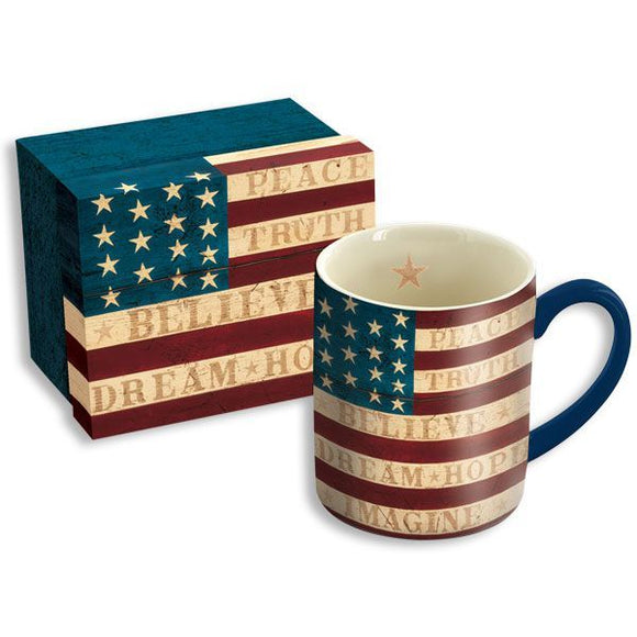 American Flag Ceramic Mug with Gift Box