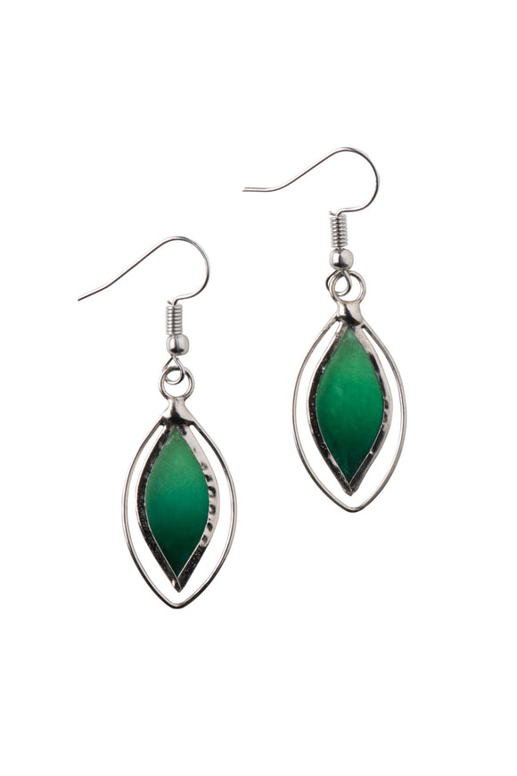 Green Leaf Capiz Earrings