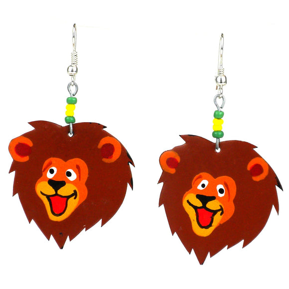 Recycled Tin Lion Face Earrings