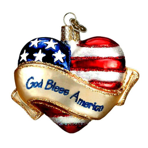 Hand-Blown Glass Christmas Ornament - God Bless America Heart
