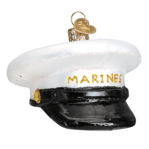 Hand-Blown Glass Ornament - U.S. Marine Corps Cap
