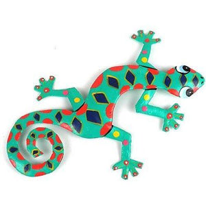 Eight Inch Spotted Metal Gecko Handmade and Fair Trade