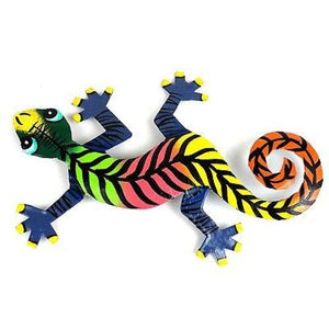 Eight Inch Striped Metal Gecko Handmade and Fair Trade