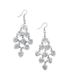 Falling Leaves Earrings - Silvertone