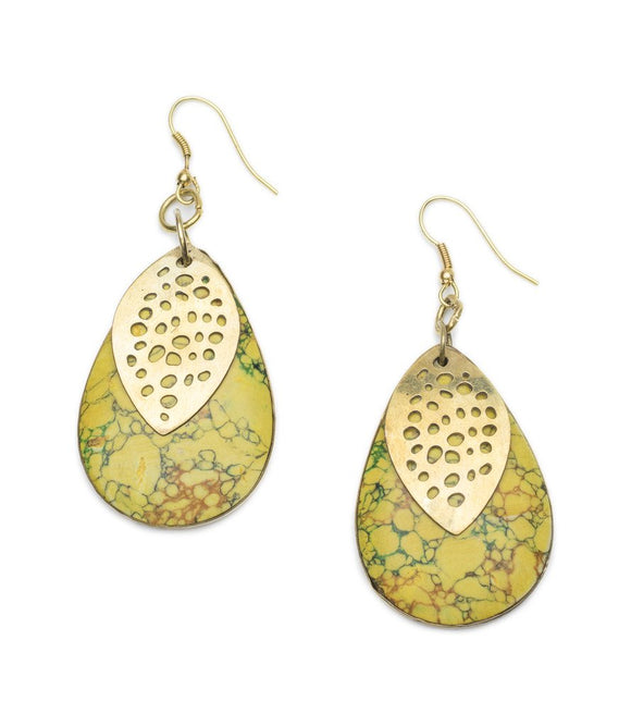 Tara Stone Medallion Earrings - Yellow
