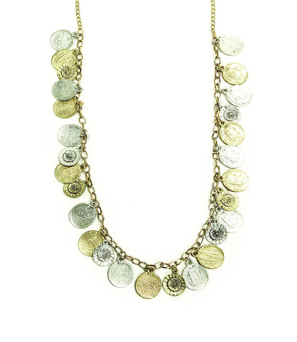 Coin and Flower Charm Necklace